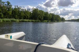Blick vom Boot übers Wasser